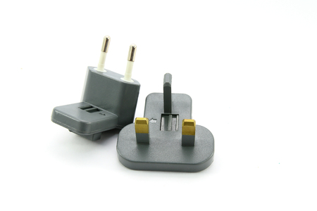 adapters: Electrical adapters on white background Stock Photo