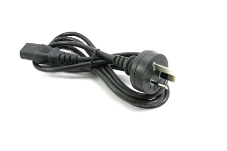 Power cable computer on white background