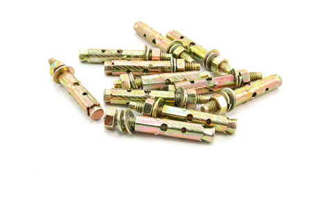 Metal dowels on white background Stock Photo