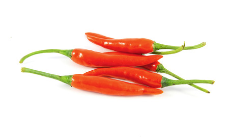 capsaicin: Red chilies on white background Stock Photo