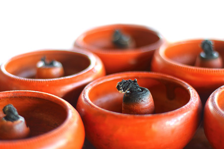 Pottery oil lamps Stock Photo