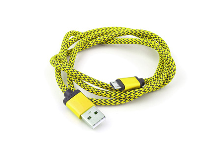 phone cord: USB cable on white background