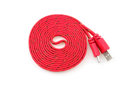 Red USB cable isolated on white background