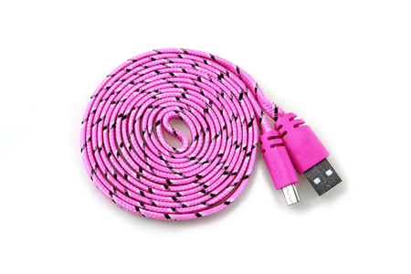 Pink USB cable isolated on white background