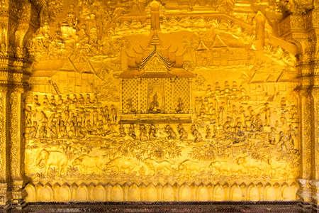 Wat Mai Souvanhphoumaram temple wall texture , Luangprabang,Laos Stock Photo