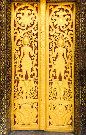 Buddhist Lao temple door decoration