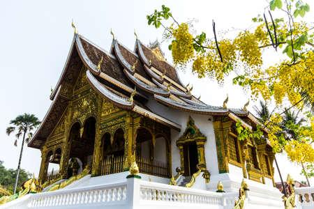 The Haw Pha Bang  Ho Pha Bang  is located at the northeastern corner of the grounds of the Royal Palace Museum  Luang Prabang  Laos Stock Photo