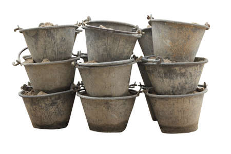Sand in bucket for cement mixing isolated photo