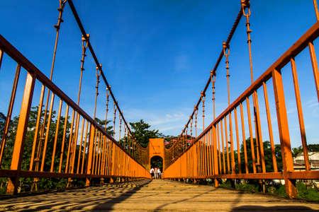 Bridge over song river, vang vieng, laos Stock Photo