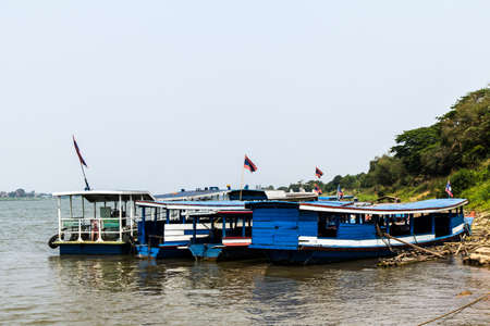 A ferry boat transport people from Thakhek, Laos to Nakhon Panom, Thailand