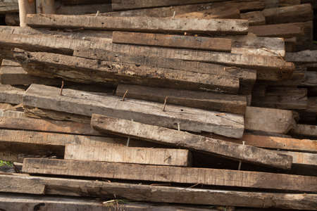 Stack of wooden bars at construction site Stock Photo - 21015186