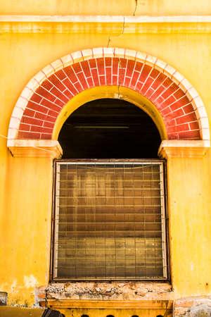 Vintage windows on old brick wall Stock Photo