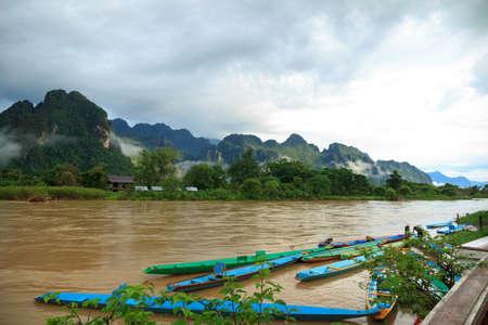 View of Vang Vieng, Laos Stock Photo
