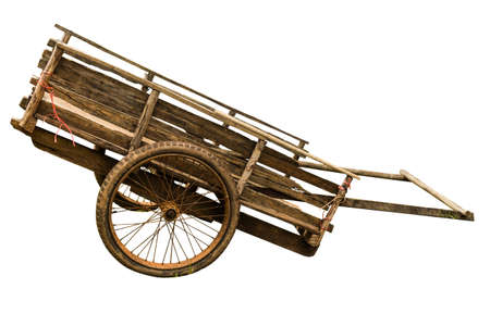 Wooden cart on white background Stock Photo