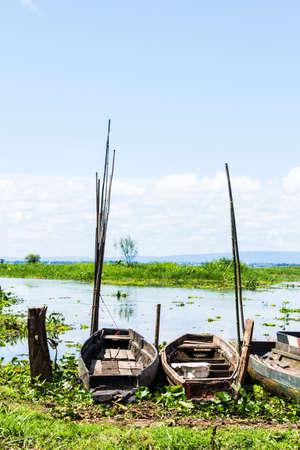 fisherman boat at a shore,Sakon Nahkon,Thailand