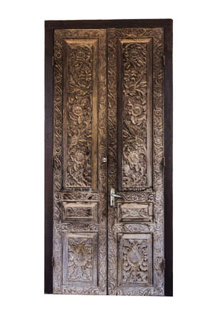 Vintage wooden door isolated on white