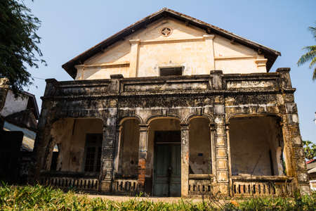 Colonial old building style at Thakhek, Laos