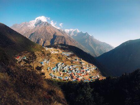 View of Namche bazar and mount thamserku - way to everest base camp, Khumbu valley, Sagarmatha national park, Solukhumbu, Nepal Reklamní fotografie