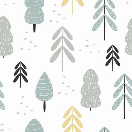 Forêt d'hiver modèle sans couture. Illustration vectorielle pour votre papier d'emballage, bannière, cartes postales, linge de lit, vêtements. Fond de bébé mignon.