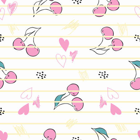 Seamless pattern featuring cherries, hearts and stripes. Vector paper for postcards, clothes and bed linen. Cute baby background.