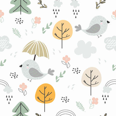 Seamless pattern fabulous, autumn forest. Birds, trees, flowers, clouds. Vector illustration for banners, packaging paper, textiles. Children background.