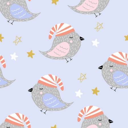 Seamless pattern with sleeping birds in night hats. Vector illustration for banners, winter cards, clothes and bed linen. Ilustração
