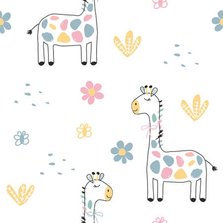 Seamless pattern with colored giraffes, flowers and butterflies. Vector illustration for banners, postcards, clothes, bed linen, packaging paper. Cute picture on a children's theme.