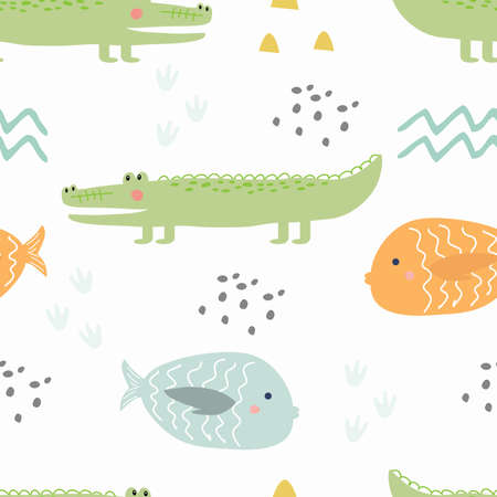 Seamless pattern with colored fishes and a crocodile on a white background. Vector illustration for printing on fabric, notebooks, wrapping paper, Wallpaper. Cute baby background.