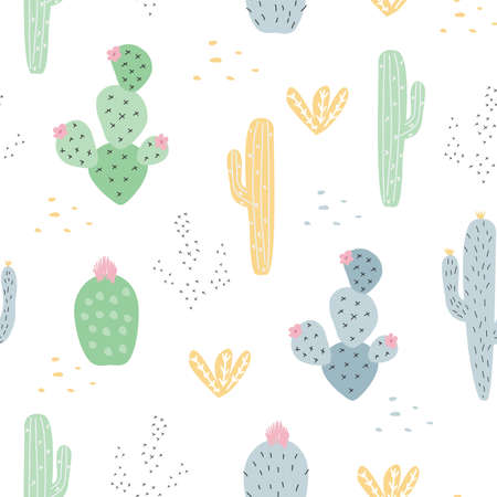 Seamless pattern with colorful cacti against a white background. Vector illustration for printing on fabric, wrapping paper, Wallpaper. Cute baby background. Illusztráció