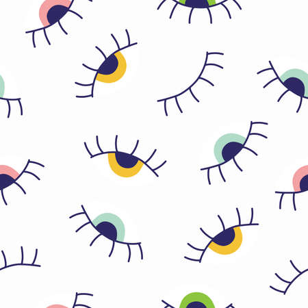 Seamless pattern with colored eyes. Vector illustration for printing, banner paper, banner case, phone case. Çizim