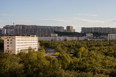 view of the city of Severomorsk in the Sunny summer evening Stock Photo - 14333968