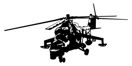 the silhouette of a military helicopter on a white background Illustration
