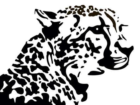 jaguar: het zwarte silhouet van een luipaard op een witte achtergrond Stock Illustratie