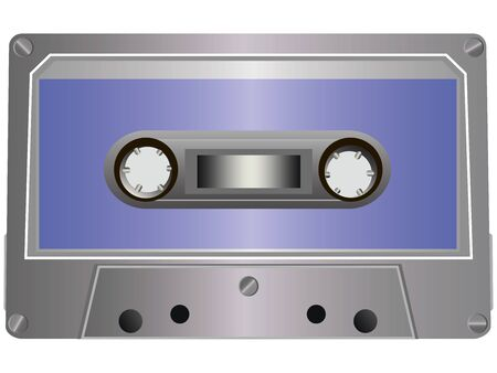 audio cassette with the magnetic tape on a white background