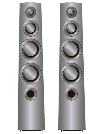 acoustic systems: speaker of the two columns on a white background Illustration
