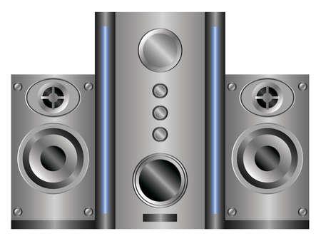 speaker system: sistema de altavoces con subwoofer en un fondo blanco Vectores