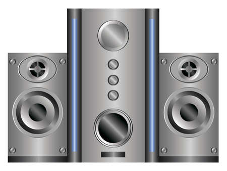 speaker system: speaker system with subwoofer on a white background