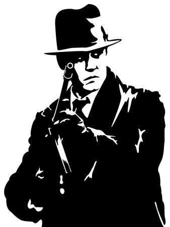 man in a black suit and a hat with a gun in his hand Vettoriali