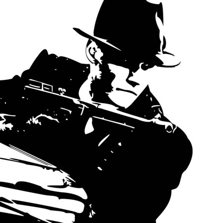 man in a black suit and a hat with a gun in his hand Illustration