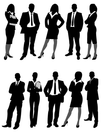 the silhouettes of business men and women on a white background