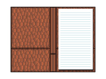 open notebook in covers made of crocodile skin