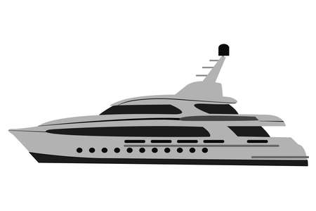 fast modern comfortable yacht on a white background