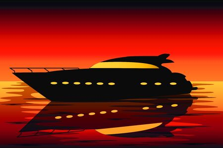the silhouette of a comfortable yacht in the sea at sunset