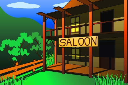 the building of the saloon of the wild West