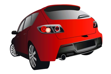 rear view of the sports car of red colour Illustration
