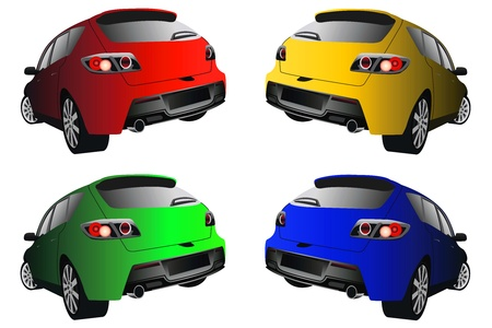 rear view of the sports cars of different colors Illustration