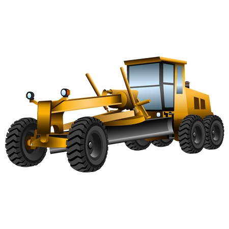 motor transport: yellow grader with a shovel on a white background