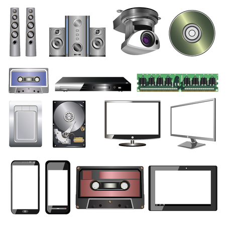 electronic, digital and computer equipment on a white background Illustration