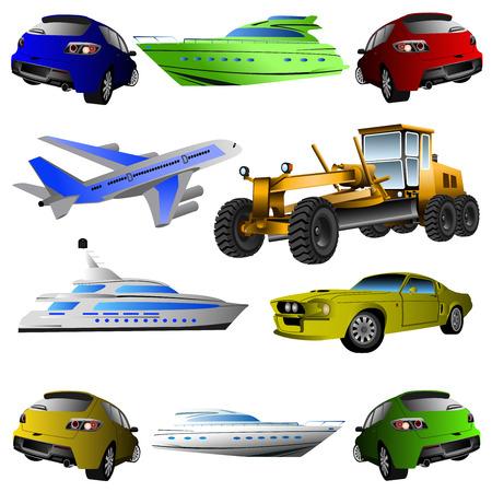 el transporte marítimo, aéreo y terrestre sobre un fondo blanco Ilustración de vector