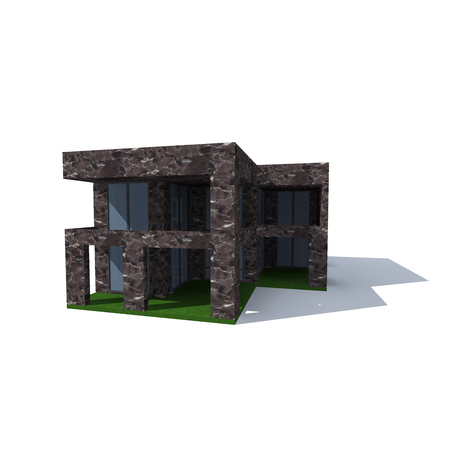 two-storey cottage of dark stone on a white background Stock Photo